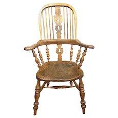 Victorian Broad Arm Hoop Back Oak Windsor Chair