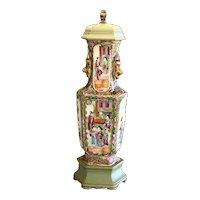 Antique Familia Rose Lamp Circa 1840