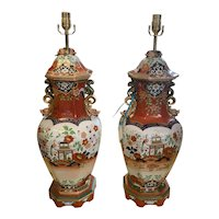 a Pair of Antique Elephant sized Masons Ironstone Lamps