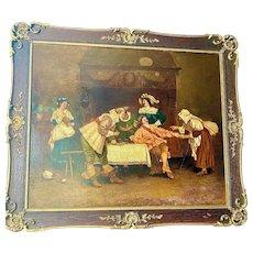 Antique original oil on canvas tavern scene