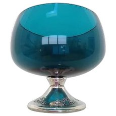 Gorgeous!!! Gorham Sterling Silver Pedestal Turquoise Glass Bowl/ Candle Holder