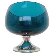 Gorham Sterling Silver Pedestal  Torquoise  Glass Bowl/ Candle Holder