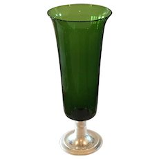 Alvin Sterling Silver Base With Green Vase