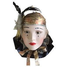 Vintage Mardi Gras Porcelain Ceramics Wall Mask