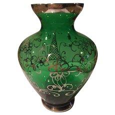 Vintage Sterling Silver Overlay on Green Glass Vase