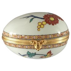 Limoges Signed  Castel Hinged Signed White Trinket Box  With Box With Painted Flowers And Box