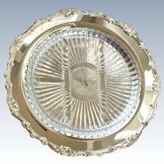 Vintage International Silver Plate Relish Dish With Glass Liner