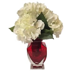 Gorgeous Crystal Red and Clear Cased Glass Vase