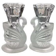 Gorgeous Vintage Cut Crystal Swan Candle Holders by Homco