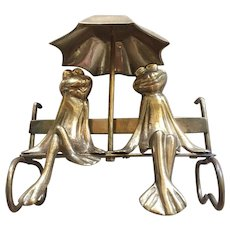 Whimsical Solid Brass Frogs Enjoying Each Others  Company and Sharing the comfort of an Umbrella