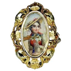 Victorian 18 Carat Gold Miniature Enamel Portrait Ring