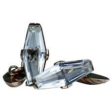 Vintage Russian Rock Crystal Silver Gilt Cufflinks