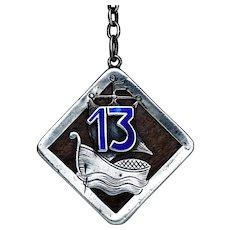 Victorian Silver Enamel Lucky 13 Charm Watch Fob