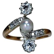 Edwardian Diamond 14 Carat Rose Gold Platinum Pearl Toi et Moi Ring
