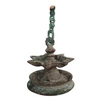 14th-17th Century Cast Bronze Multiple-Wick Islamic Oil Lamp, Iberian Peninsula