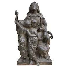 17th Century, The Martyr Saint Sophia and her Three Daughters, Cast Iron Plaque, Italian