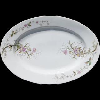 1880s Large Victorian Floral Porcelain Platter, Vista Alegre, Portuguese