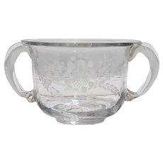 18th Century Antique Baroque Small Cup, Hand Blown Glass, Portuguese