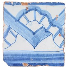 18th Century Antique Portuguese Rocaille Geometric Forms Tile