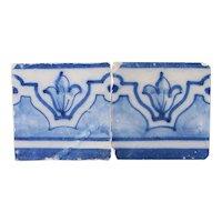 18th Century Antique Set of Two Baroque Tiles, Portuguese