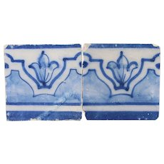 18th Century Antique Set of Two Baroque Tiles, Portuguese