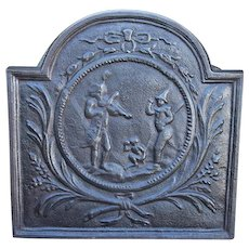 18th Century French Louis XIV Cast Iron Fireback depicting Musicians and Dancers