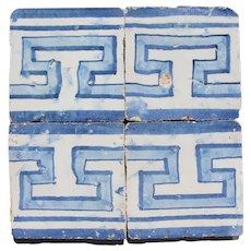 18th Century Set of 4 Greek Style Baroque Tiles, Portuguese