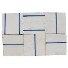 18th Century Set of Six Minimalist Baroque Tiles, Portuguese