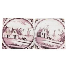 18th Century Set of Two Delft Tiles depicting Houses by the River