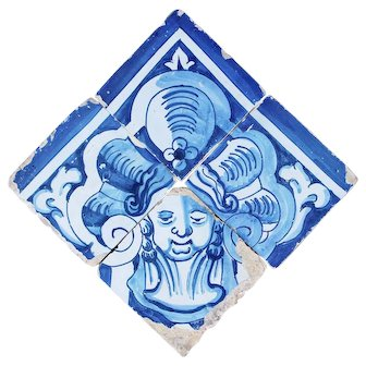 Portuguese 18th Century, Baroque Set of 4 Tiles depicting a Cherub