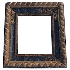 18th Century, Carved, Gilded and Polychrome Portuguese Baroque Frame, Antique