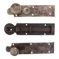 18th Century, Rare Set of 3 Wrought Iron Door Latches, Baroque, Original Antique