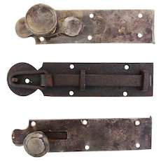 18th Century, Rare Set of 3 Wrought Iron Door Latches, Baroque, Original Antique