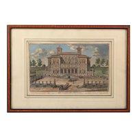 18th Century, Villa Borghese, Giuseppe Vasi, Coloured Engraving