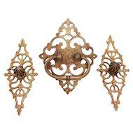 18th Century, Wrought Brass Set of 3 Chest Handles, Chest Pulls Original Antique