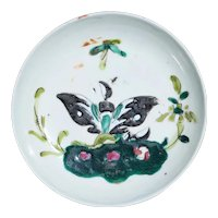 1900s Antique Chinese Export Butterfly Porcelain Saucer
