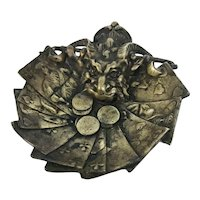 1900s Antique Devil Brass Pin Dish, Gambling Counter, French