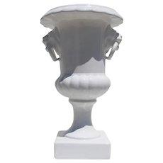 1900s Antique Portuguese Ancient Roman Style Urn, Earthenware Crackle Glazed