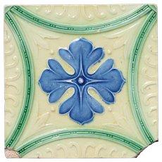 1900s Art Nouveau Portuguese Earthenware Tile