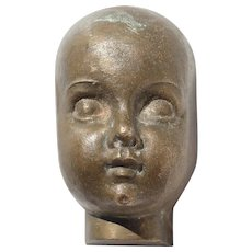 1900s Antique Bronze Baby Doll Head from France, probably a Mold