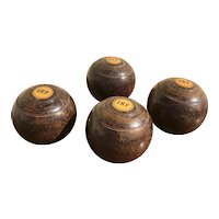 1900s English Set of Four Antique Wooden Lawn Bowling Balls