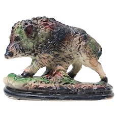 1900s French Antique Plaster Wild Boar Figurine, Signed