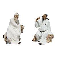 1900s Set of Two Shiwan, Mudman Figurires, Glazed Earthenware