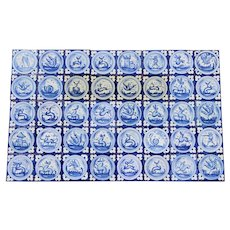 1900s Spanish Blue and White Figural Tile Mural Panel, Set of 40, Earthenware