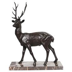1910s French Art Deco Bronze Statue of a Large Deer on Marble Base