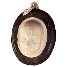 1920s Plaster Death Mask of a Young Girl, French