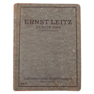 Vintage Medicine / Medical Instruments Catalog / Book (German Version) Ernst Leitz, Berlin, Laboratoriums - Einrichtungen - Apparate und Gerätschaften