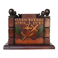 1937 American Folk Art Wood Coin Bank, Probably a Gift for a Newborn Girl