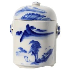 1940s Chinese Tea Caddy, Celadon Blue & White, Hand Painted Landscape Scene, Double Lidded