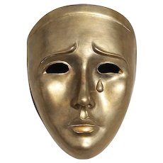 1950s Studio Pottery Art Deco Earthenware Mask, Signed